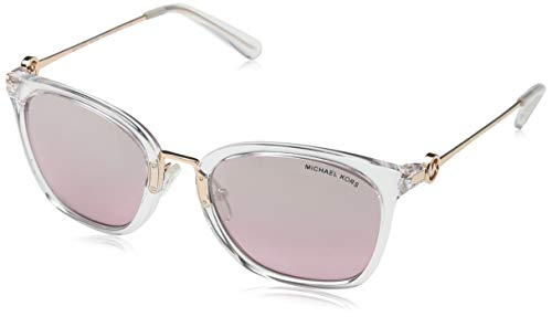 Michael Kors Damen Lugano 31057E 53 Sonnenbrille, Clear Crystal/Greypinkflash