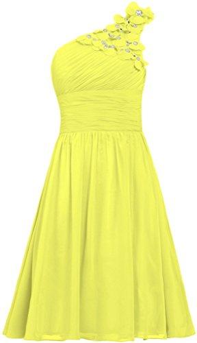 Fanciest Damen Eine Schulter Flowers Kurz Brautjungfer Kleider Brautkleider Party Gowns Gelb 32