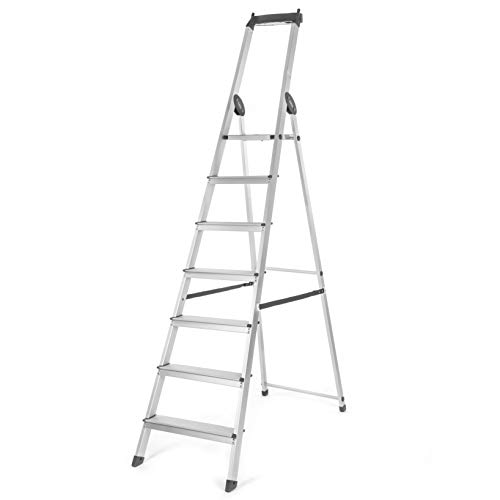 Bathla Elevate 7-Step Foldable Aluminium Ladder with Tool Tray (Black)