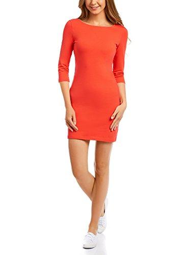 oodji Ultra Damen Jersey-Kleid Basic, Rot, DE 40 / EU 42 / L