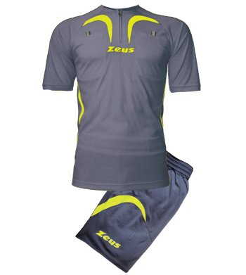 Zeus Herren Fußball-Schiedsrichter Trikot Shirt Hosen Klein Armel Kit Fußball Hallenfußball KIT ARBITRO PRO GRAU-GELB FLUO (XXL) (Schiedsrichter Hose Pro)