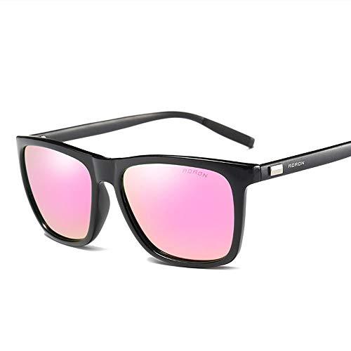 WULE-RYP Polarisierte Sonnenbrille mit UV-Schutz Suqare Fashion Sunglasses Polarized Lens, Al-Mg-Tempel für Männer/Frauen Superleichtes Rahmen-Fischen, das Golf fährt (Farbe : Schwarz/pink)
