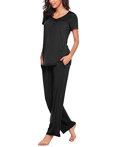 Unibelle Damen Pyjama Set Kurzarm Nachtwäsche Lace Trim Long Pj Set (Set Lace Trim)