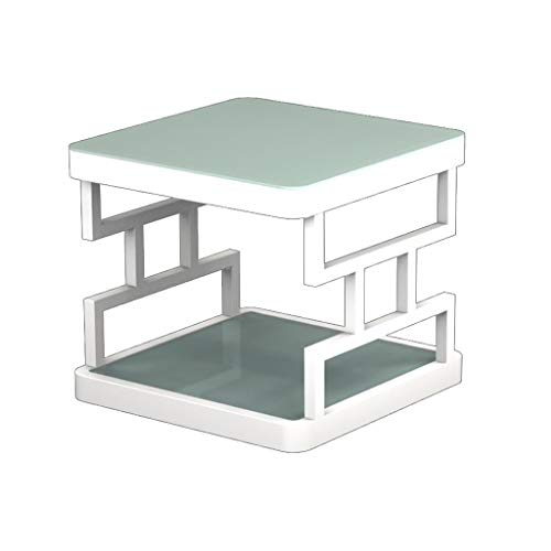 M-JH Table d'appoint, Table d'appoint en Verre trempé Salon Chambre à Coucher Table Basse Canapé Double Table Basse latérale (Couleur : Blanc, Taille : 50CM)