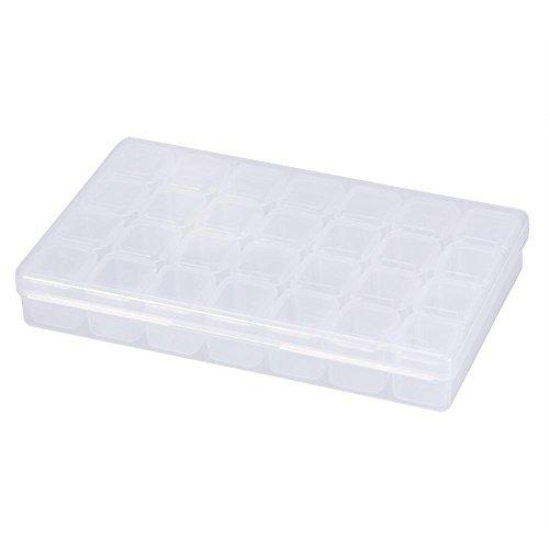 Nail art Boîte de rangement 28 emplacements Décoration strass récipient en plastique transparent vide Organiseur Perle