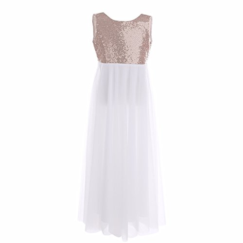 iEFiEL Kids Girls Shiny Sleeveless V-Back Sequined Wedding Formal Party Prom Pageant Princess Tulle Long Dress