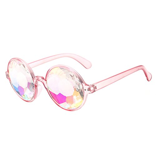 BESTOYARD Kaleidoskop Brille, Regenbogen Sonnenbrille Festivals Rave Brille Karneval Kostüm Zubehör (Rosa Rahmen ohne Löcher)