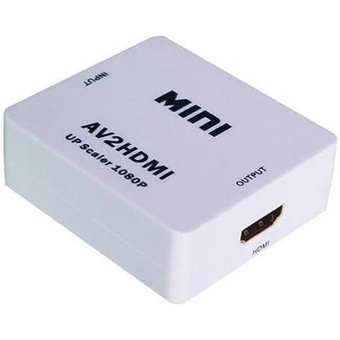 BlueBeach® AV RCA de vídeo compuesto CVBS Audio a HDMI adaptador convertidor Upscaler Soporta HDTV, HD (de alta definición), Video Audio Converter para DVR VHS