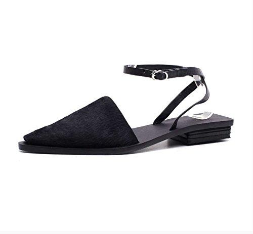 CXKS Chaussures Femmes Sandales D'Été Concepteur de L'Europe Attache Talon Bas
