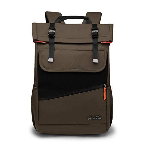 Wind Took Rolltop Rucksack Daypack Schulrucksack Fahrradrucksack für 15,6 Laptop, Uni Büro Alltag Herren Damen, Grün -