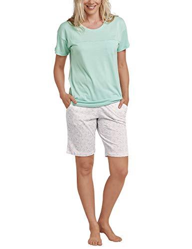 Schiesser Damen Anzug Bermuda, 1/2 Arm Zweiteiliger Schlafanzug Grün (Mint 708) 36 (Herstellergröße: 036)