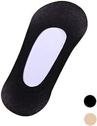 Gosear 6 pares Fino Calcetines Cortos Tobilleras de Elástico Antideslizante / Calcetines Invisibles de No Mostrar Corte Bajo de Fibra de Bambú para Mujer,Blanco y Negro