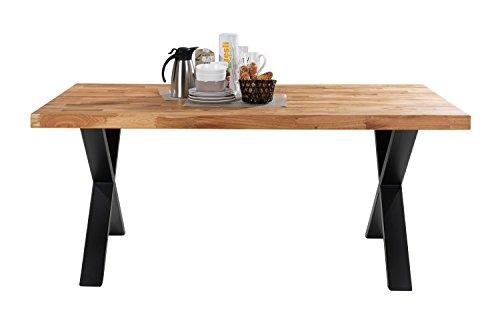 Esstisch Küchentisch Esszimmertisch SIGA 4 | 180×100 cm | Eiche massiv | Braun | Schwarz