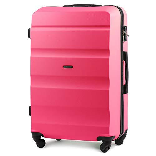 Wings luggage carrello spazioso - valigia leggera per aeroplano - custodia lussuosa e moderna con impugnatura telescopica a due stadi e lucchetto a combinazione (rosa, l 75x45x30)