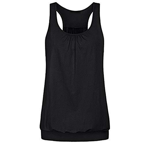 SHE.White Damen Große Größe Camisole Rundhals Falten T-Shirt Weste Bluse Ärmellos Stretch Tunika Top (Verkauf Kleider Mittelalterliche Für)