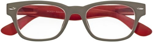 I NEED YOU Lesebrille Woody Selection / +2.00 Dioptrien / Grau-Rot
