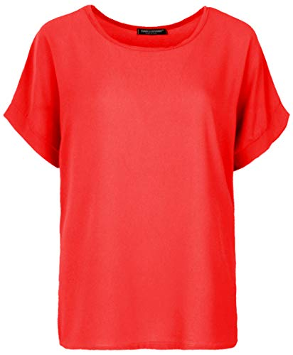 Rot Schwarz Shirt (Emma & Giovanni - Oversized T-Shirt/Oberteile Oversize mit Kurzarm Segelstoffe - Damen (Rot, S/M))