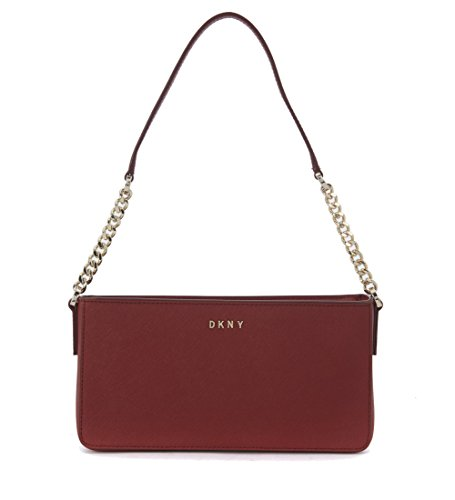 Borsa a tracolla small DKNY in pelle rosso scarlet