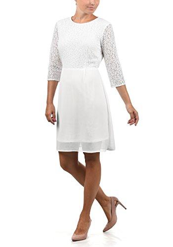 VERO MODA Eve Damen Abendkleid Cocktailkleid Festliches Kleid Mit Rundhals-Ausschnitt Und Spitze Midilänge, Größe:XS, Farbe:Snow White