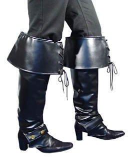 Stiefelgamaschen Deluxe, schwarz -Piraten-Gamaschen- (Accessoire Stiefelstulpen Halloween)