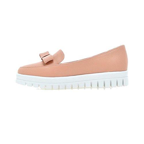 AgooLar Damen Rein Weiches Material Niedriger Absatz Ziehen Auf Rund Zehe Pumps Schuhe Pink