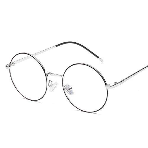 Herren Sonnenbrillen Retro Plain Brillen Trend Brillengestell Metall Runde Klassische Mode Brillengestell LTJHJD (Color : 02Sliver, Size : Kostenlos)