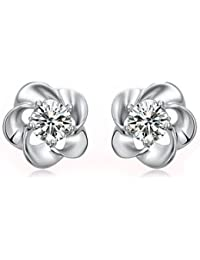 Silver Shoppee Silver Rhodium Plated Crystal Alloy Stud Earrings For Women