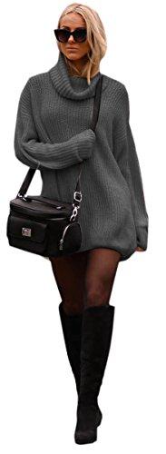 Damen Strickpullover Sweater Rollkragen Pullover Jumper Strick Pulli Oversize (648) (Grafite) (Italienische Rollkragen Pullover)