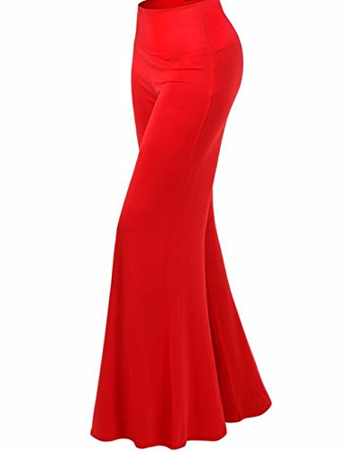 Emma Damen Klassisch einfarbrig hohe Taille weite Palazzo Lounge Hose Rot
