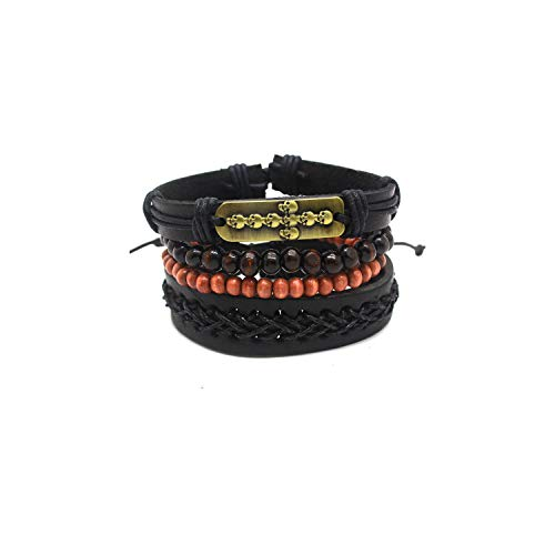Armband Armreif, Schmuckgeschenk,1 Set 4PCS Leather Bracelet Multi-Layer Bead Bracelet Women's Retro Punk Casual Men's Bracelet Jewelry Eye Accessories Antique Silver Plated