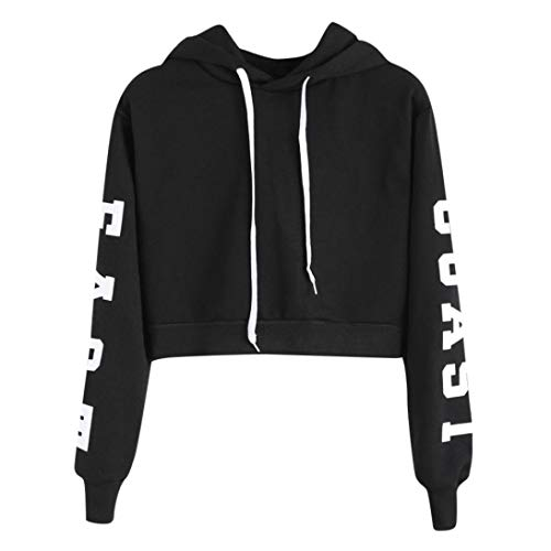 Damen Hoodies Mumuj Mädchen Mode Frauen Briefe Langarm Kapuzenpullover Frauen Sweatshirt Kurz Pullover Bauchfrei Oberteile Warme Bluse Party Cocktail Oberteile