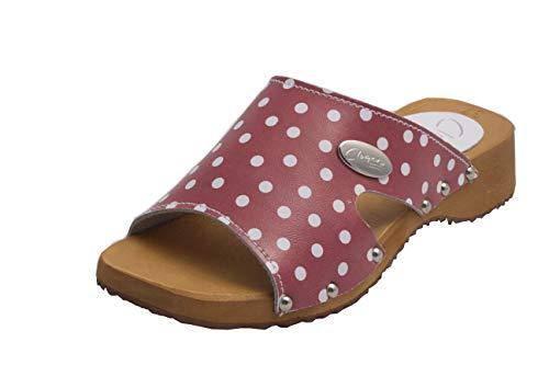 CLOGERS Originale Damen Pantoletten I Clogs aus Holz Klotschen Holz Pantoletten Damen Schuhe I Holzsohle Gartenschuhe Holzabsatz (39 EU, Rot und weiß) -