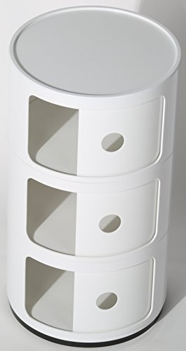 Costello/® 3 TIER DRAWER BEDSIDE UNIT TABLE BATHROOM CABINET CADDY BEDROOM CHEST ROUND MODULAR KITCHEN UNIT BEDROOM//BATHROOM//OFFICE ROUND STORAGE SLIDE CABINET DRAWER UNIT