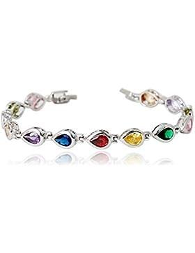 Armband mit Swarovski-Kristallen und mit 18 Karat weißvergoldet - Mit luxuriösen bunten Steinen