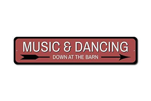 Aersing Lustiges Blechschild Musik & Tanzen Schild Musik Liebhaber Geschenk tanzen Deko Scheune Party Deko Blechschild Wanddekoration -