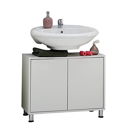 Floor Spiegelschrank (FMD Möbel 925-004 Zamora 4 Waschbeckunterschrank melaminharzbeschichtete Dekorspanplatte Weiß ca. 70,0 x 56,5 x 33,0 cm)