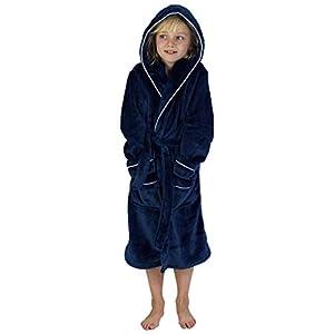 CityComfort Bademantel Jungen Morgenrock Jungen mit Taschen Schwarz Grau Sehr Warm (5-6 Jahren, Marine)