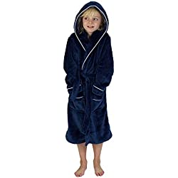 CityComfort Peignoir Garçon Robe de Chambre Polaire Enfant Peignoire Extra Doux (13-14 Ans, Marine)