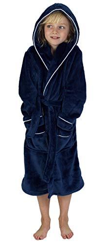 CityComfort Bademantel Jungen Morgenrock Jungen mit Taschen Schwarz Grau Sehr Warm (7-8 Jahren, Marine)