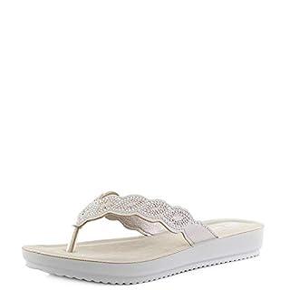 INBLU Womens BM000033 Natural Nude Thong Flip Flop Comfort Sandals Size 6