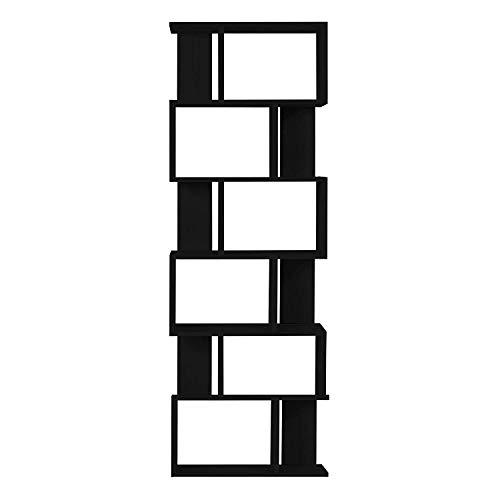 Rebecca mobili libreria scaffale nero moderno legno 6 ripiani arredo ufficio salotto - 192 x 80 x 25 cm (h x l x p) - art. re6022