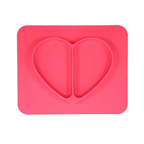 Anself Safe Waterproof Silicone Placemat Plate Bowl Tableware for Baby, Rose Heart