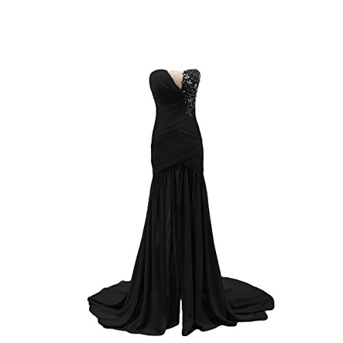 Bridal_Mall Damen Elegant Chiffon ohne Aermel Partykleider Lang mit Schleppe Beaded Verzierung Abendkleider Schwarze