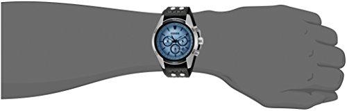 Fossil Herren Armbanduhr wasserdicht Coachman - mit schwarzem Lederarmband & blauem Mineralglas / Lederband Uhr mit Chronographen-Funktion, Datumsanzeige & Tachymeter - 5