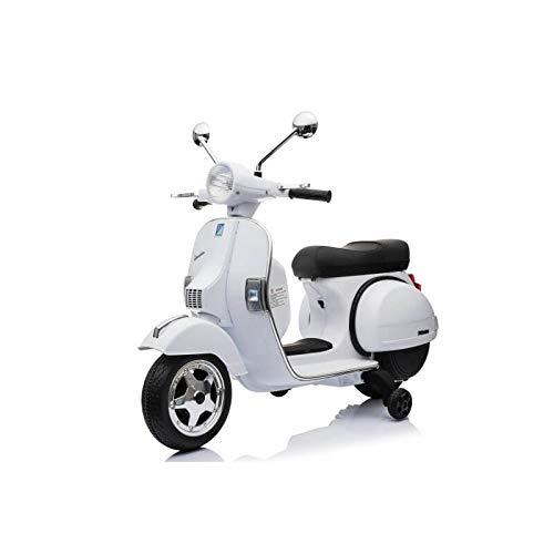 ATAA CARS Vespa clásica Oficial 12v Licencia Piaggio - Blanco Moto eléctrica para niños hasta 7 años. Batería 12v Coche electrico niños
