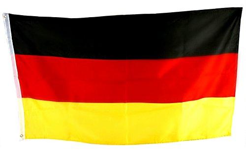 schwarz rot gold Fußball Fahne EM / WM Flagge aus Stoff für Fahnenmast 2 Befestigungsösen Wind- und Wetterfest, Fanartikel Europameisterschaft 2016