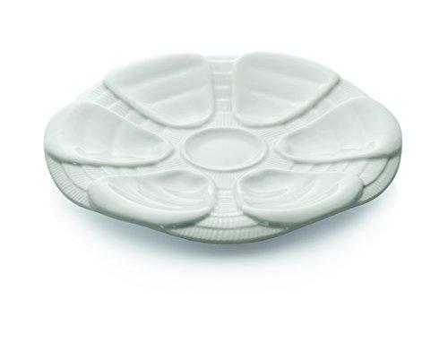 Austernteller aus Porzellan in weiß - für 6 Austern (Durchmesser: Ø 25 cm)