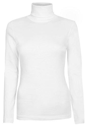 Damen Rollkragen-Pullover, ausschließlich von Brody & coâ ®, Unifarben, für den Winter und Skifahren, Stretch-Qualität, Jersey Baumwolle Gr. Medium, weiß