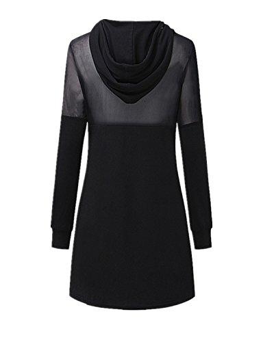 StyleDome Femme Robe Mesh Casual Manches Longue Hoodies Cocktail Courte Mini Robe Noir