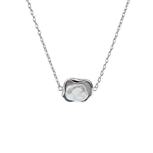 Collana di perle coltivate d'acqua dolce Keshi 9-10 mm Secret & You - Catena e pendente in argento sterling 925 Rodiada - 45 cm di lunghezza.